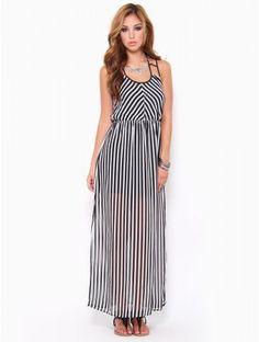 #Chiffon #Striped Maxi #Dress