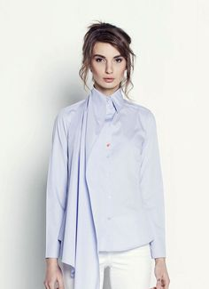 https://www.cityblis.com/6024/item/17079 | I'M an Artist - $181 by I'M Your Shirt | A true work of art opens up a world. Let your outfit unleash an entire universe. Slim fit blouse with long sleeves and asymmetric, multifunctional collar. Using the loop on left shoulder you can change your blouse design. You can also leave long part of collar hanging down - it will make you look t... | #Tops/Blouses