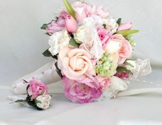 Realistic Silk Wedding Flowers Pink Bridal Bouquet -by AMOREBRIDE- Custom artificial  couture design faux flowers Wedding Accessories