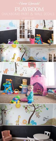amazing playroom with chalkboard paint and decals. kids, playroom, decals, wall decal, jungle, farm, educational, sea, dolphin, girls play room, playroom, fun, chalkboard, chalkboard paint, black chalkboard paint - from sengerson.com, lifestyle and home decor blogger