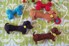 """Baby Mobile - Baby Crib Mobile - Dachund Mobile - Nursery Baby Room """"Doxie Dreams"""" (You can pick your colors). $60.00, via Etsy."""