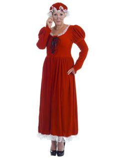 Dressing in her red cap, long red gown and that perfect white trim, you know whose Missus this is. Mrs Claus Costume includes long velour lace front dress and matching mop hat. Wholesale Halloween Costumes, Christmas Costumes, Diy Costumes, Adult Costumes, Costumes For Women, Costume Ideas, Mrs Santa Claus Costume, Mrs Claus Dress, Reindeer Costume