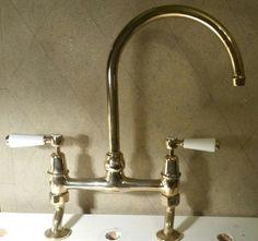 Merveilleux Barber Wilsons Kitchen Bridge Faucet Inca Brass With White Levers Handles