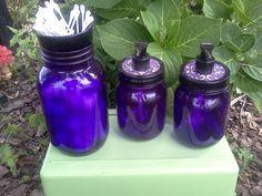 BATHROOM SET - Cotton - Q-Tip - Soap Dispensers  - Mason Jars - Purple Home Decor