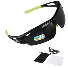 0b2f2a5a575 Poshei P05 Polarized Sports Sunglasses with Unbreakable Frame for Biking  Fishing Running Driving Golf Baseball BlackGreen