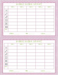 This Is The Bunco Score Sheet Download Page You Can Free Download