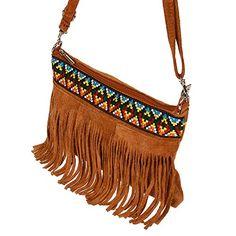 L22 Mini Fransen echt Wildleder Schultertasche Leder Hippie Style Indianer Umhängetasche Shopper Handtasche Tasche von Kossberg (Cognac): Amazon.de: Schuhe & Handtaschen