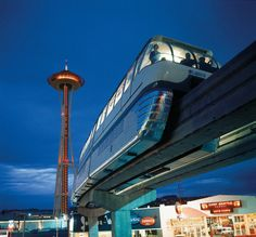 Monorail at Century 21, Seattle World's Fair. Space Needle in Background