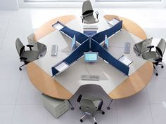 Beautiful Computer Office Furniture With Modern Round Table Decoration With White Flooring Porcelain Material Style Inspiration