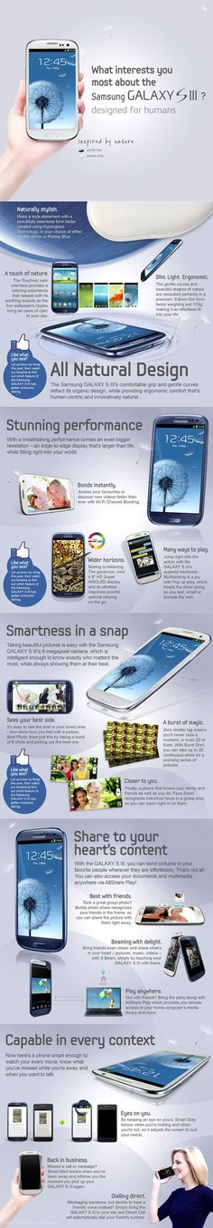 Samsung Galaxy S3 - Designed for humans and inspired by nature. Clear HD Amoled display with 8 megapixel camera.