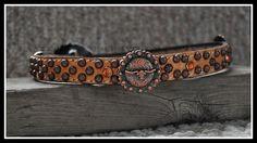 custom dog collar coral western floral hide
