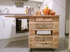 moving kitchen island from wooden pallets.