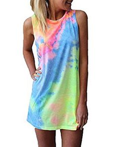 Women's Summer Sleeveless Medium M Tie-dye Rainbow Long Top Mini Dress, New #Unbranded