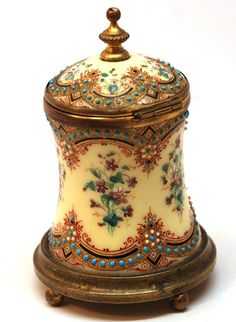 *ANTIQUE NAPOLEON III:  French Hand-Painted Enamel Encrier/Inkwell from parischateau, C. 1860-1875.  tHE boidy is brass, the base has cour ball-shapped brass feet. Hand-painted purple forget-me-not flowers (w/ green leaves) have been placed in horizontal bouqauets.