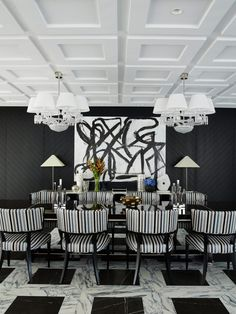 Greg Natale is a luxury interior designer in Queenland with modern deco style. White Dining Room Sets, Black And White Dining Room, Luxury Dining Room, White Rooms, Dining Room Design, Dining Rooms, Black White, White Interior Design, Interior Design Inspiration