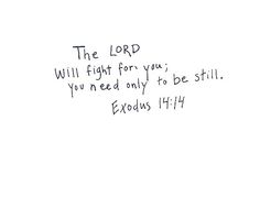 The Lord will fight for you; you need only to be still.