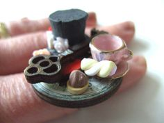 Mad Hatter, Alice in Wonderland, diorama, 3d, tea party, tea cup, cakes, top hat, whimsical, by NewellsJewels on etsy