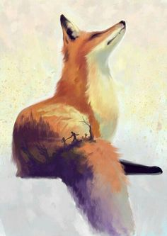Fox painting - Art - Home Cute Animal Drawings, Cute Drawings, Art Fox, Art Mignon, Fox Drawing, Fox Painting, Cute Art, Amazing Art, Watercolor Art