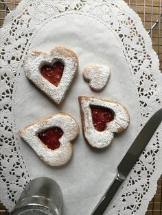 Heart shaped raspberry jam filled sugar cookies