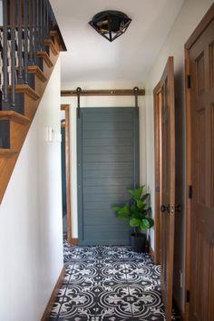 Faux Cement Tile Painted Floors - Painting tile floors - Home Painted Interior Doors, Interior Paint Colors, Interior Barn Doors, Interior Painting, Interior Design, Painting Tile Floors, Painted Floors, Tile Floor Diy, Cheap Tiles