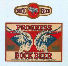 1930s Progress Bock Beer Labels Progress Brewing Co.Oklahoma City OK