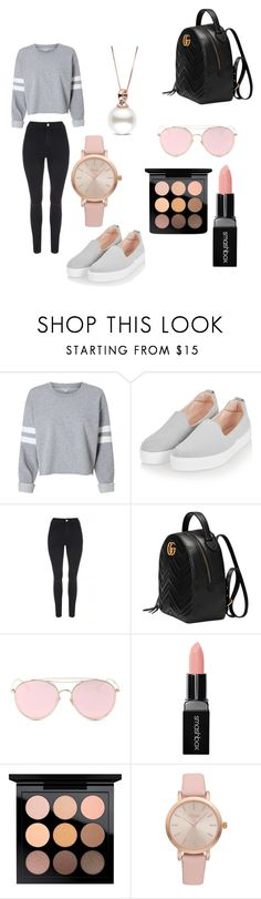 """""""A simple outfit 🌚💗"""" by mememmeme ❤ liked on Polyvore featuring Topshop, Jane Norman, Gucci, LMNT, Smashbox, MAC Cosmetics and Vivani"""