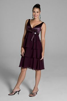 2012 Wonderful Column V-neckline Knee-length Bridesmaid Dress Style LILIAN, bridesmaid dresses