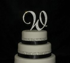 5 Inch Monogram Cake Topper Decorated with Swarovski Crystals in Any Letter A B C D E F G H I J K L M N O P Q R S T U V W X Y Z on Etsy, $50.00