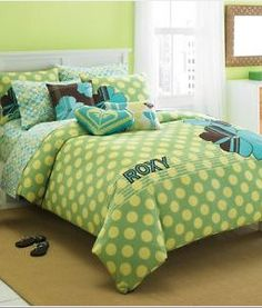 aqua and green comforter twin | Roxy Vivid Lime Green and Aqua Blue Bedding Comforter Set Tropical ...