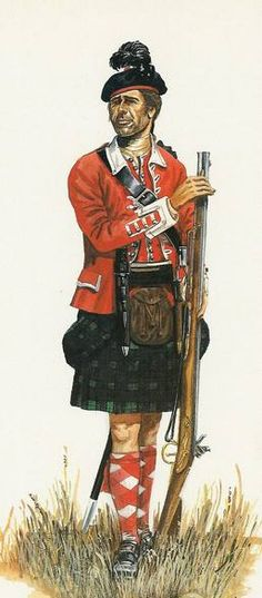 """Private, 78th (Highland) Regiment of Foot, or Fraser's Highlanders, 1757-1763 - """"The 78th (Highland) Regiment of Foot was at the siege of Louisbourg in 1758, at the siege of Quebec in 1759 and at the battle of Sainte-Foy in 1760. It remained in garrison at Quebec until disbanded in 1763, some of its men remaining in Canada as settlers."""""""