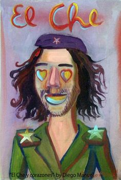 El Che y corazones, acrylic on canvas, 20 x 29 cm, year 2012 . Painting for sale of the Serie Portraits by artist Diego Manuel