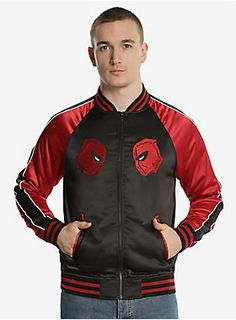 """<div>Chimichangas, what a jacket! Something this stylish calls for a special occasion, might we suggest taco night? This black and red satin bomber jacket features Deadpool's mask on either side of the zipper and has a highly detailed embroidered Deadpool night scene on the back.</div><div><ul><li style=""""list-style-position: inside !important; list-style-type: disc !important"""">Shell: 93% polyester; 7% spandex; Lining & Filling: 100% polyester</li><li style=""""list-style-position: inside !impor"""