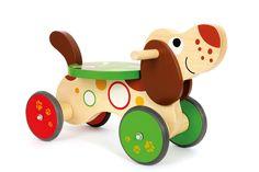 """Rutscher """"Dackel"""" - Ein robuster Rutscher, gestaltet als niedlicher Hund. Die Kleinsten trainieren beim Fahren ihre Körperkoordination, das Raumgefühl, den Gleichgewichtssinn und stärken ihre Muskulatur. Ein Riesenspaß für die kleinen Fahranfänger! Außerdem sorgt der Lenkeinschlag für maximale Sicherheit. Aufgrund der Gummibereifung ist das Laufrad vom Geräuschpegel auch im Haus sehr angenehm. Das Laufrad ist für drinnen und draußen bestens geeignet. Gute Fahrt!"""