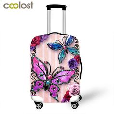 HUGS IDEA 18//20//22 Inch Vogue Camera Pattern Travel Luggage Covers Spandex Suitcase Cover Protector