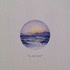 """Day 132 : """"Happy Mother's Day Lella. Love you, Fifi."""" 23 x 23 mm. #365paintingsforants #watercolour #miniature #ocean #mountain (at Somerset West)"""