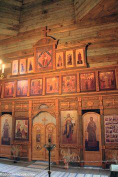 Inside a wooden summer church in Suzdal