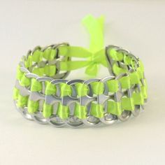 Upcycled pop tab bracelet  fluor green stacked weave