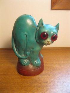 Antique Porcelain Figural Big Eye Cat Lamp Light Germany 3623 Halloween N R | eBay