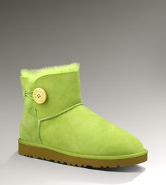 Ugg Womens Mini Bailey Button 3352 Short Boots Bright Green