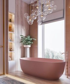 This pink bathroom is giving us interior inspiration. From lighting to water temperature, almost every element can all be controlled by a Mayflower Bathroom Automation System. Call to find out House Design, Bathroom Interior Design, Interior, Home, House Interior, Home Interior Design, Pink Bathroom, Bathroom Decor, Beautiful Bathrooms