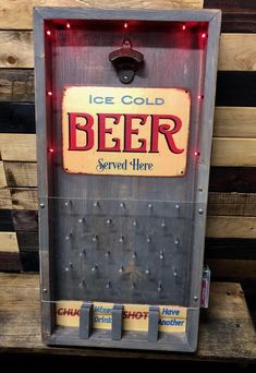 Ice cold beer served here 🍺 Barrel Projects, Wooden Pallet Projects, Diy Projects, Wine Shop Interior, Cat Tree Designs, Diy Outdoor Bar, Idee Diy, Diy Bottle, Diy Bar