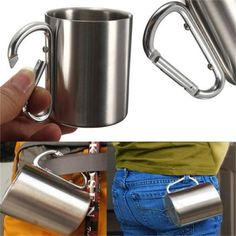 Please read the FAQ regarding shipping time and other useful information. Main Features: - Comfortable carabiner handle, suitable for hiking and backpacking. - Double wall stainless steel mug so the m