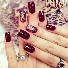 Burgundy Nails with Design