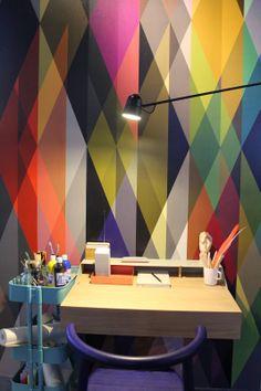 Werkplek met geweldig behang Eigen Huis en Interieur Woonbeurs Amsterdam 2013