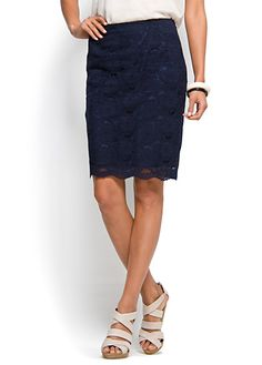 Mango lace tube skirt in navy blue.