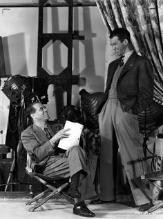 Frank Capra and James Stewart on set of It's a Wonderful Life (1946).