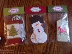 Three sets of gift tags made for my son's teachers using (mostly) current…