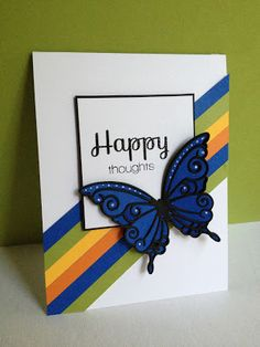 hand crafted card from I'm in Haven ...Simon Says Stamp ... gorgeous die cut butterfly ... black stained glass lines ... royal blue fill ... white gel pen dots ...