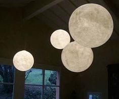 Hanging moon lamps for inside a living room and kids room