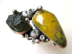 The Day You Got Born -primitive organic double stone moldovite meteorite, olive green poppy jasper, sterling silver metalwork bezel art ring by LoveRoot